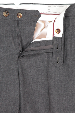 Wool Flat Front Trouser Anthracite