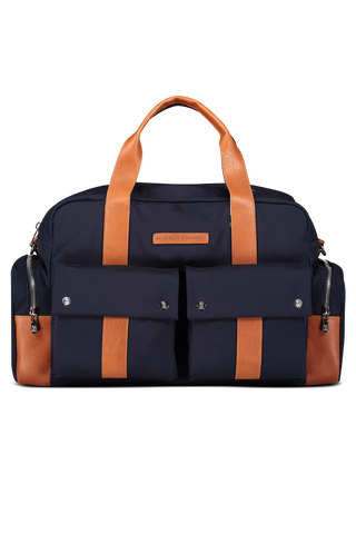 Wool Leather Travel Bag Navy