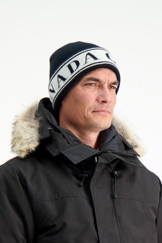 Front Crop Image Of Model Wearing Canada Goose Women's Logo Toque Hat Black