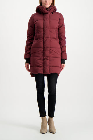 Full Body Image Of Model Wearing Canada Goose Women's Alliston Coat Elderberry