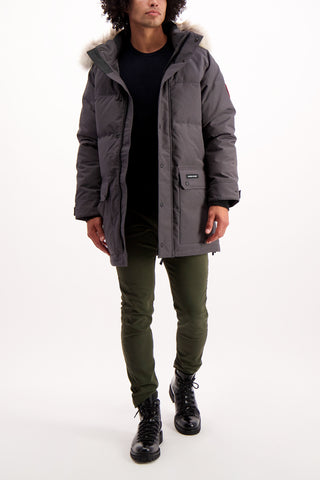Full Body Image Of Model Wearing Canada Goose Men's Emory Parka Graphite