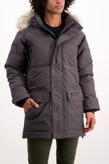 Front Crop Image Of Model Wearing Canada Goose Men's Emory Parka Graphite