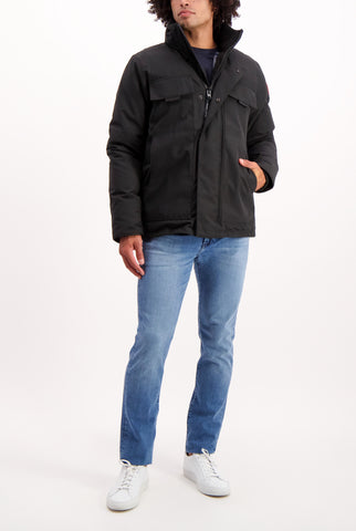 Full Body Image Of Model Wearing Canada Goose Men's Forester Jacket Black