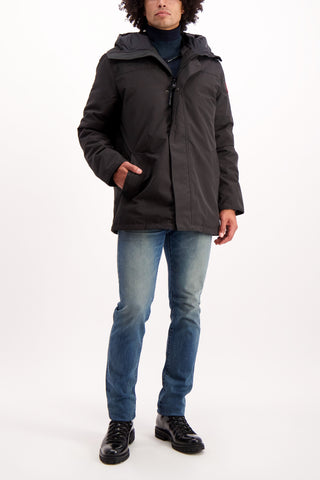 Full Body Image Of Model Wearing Canada Goose Men's Garibaldi Parka Black