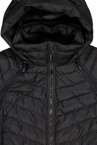 Front hood and zipper detail image of Women's Hybridge Base Jacket Black