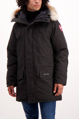 Front Crop Image of Model Wearing Canada Goose Men's Langford Parka Black
