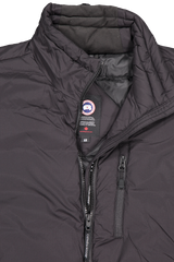 Front collar and zipper detail image of Canada Goose Men's Lodge Jacket Black