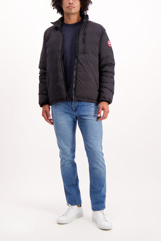 Full Body Image Of Model Wearing Canada Goose Men's Lodge Jacket Black