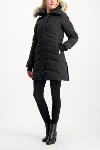 Full Body Image Of Model Wearing Canada Goose Women's Lorette Parka Black
