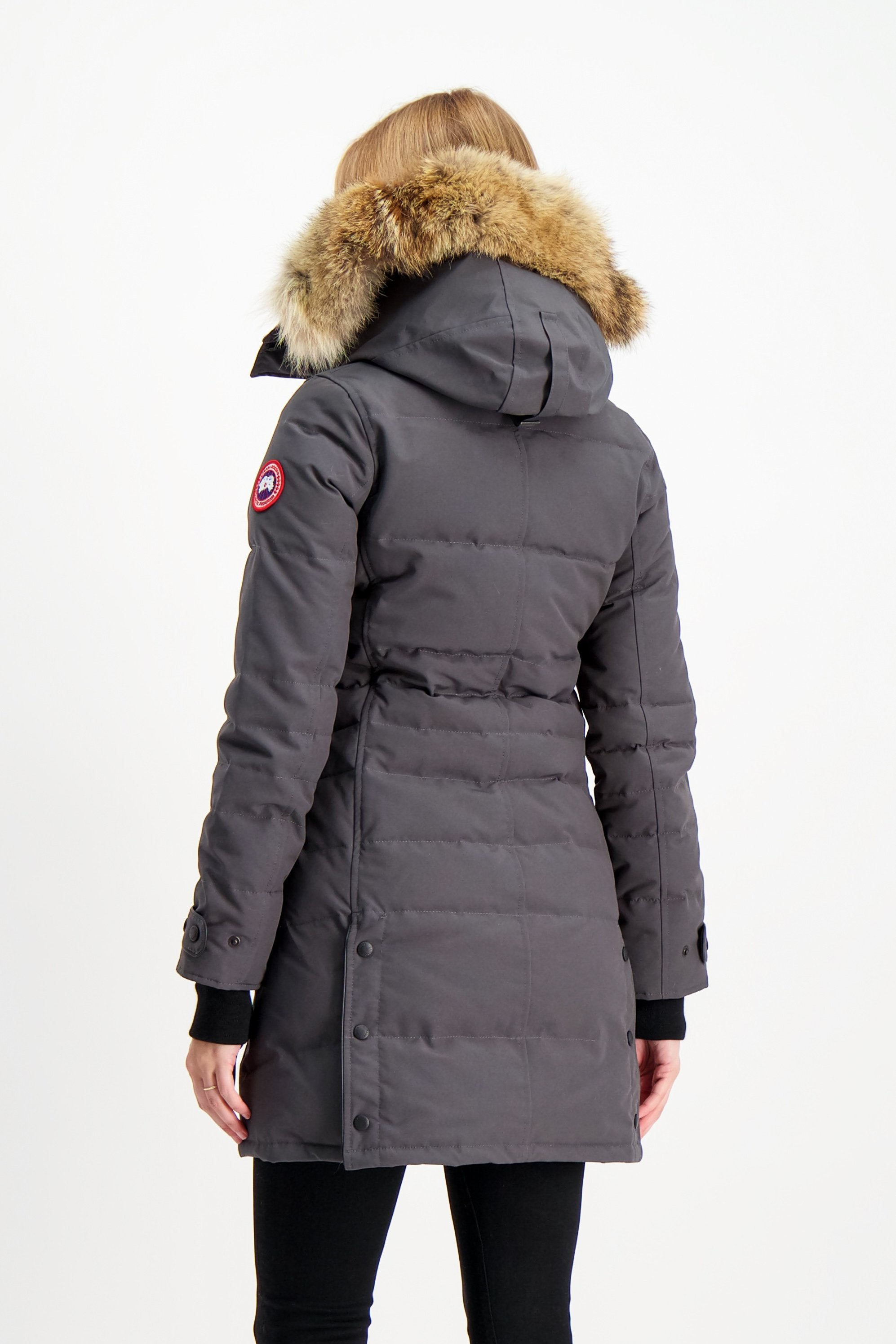 Back Crop Image Of Model Wearing Canada Goose Women's Lorette Parka Graphite