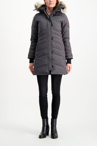 Full Body Image Of Model Wearing Canada Goose Women's Lorette Parka Graphite
