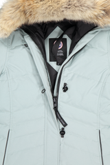 Front collar and zipper detail image of Canada Goose Women's Lorette Parka Stormy Sky