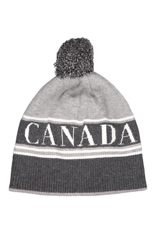 Front view image of Women's Canada Goose Pom Toque Hat Grey