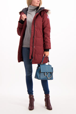 Full Body Image Of Model Wearing Canada Goose Women's Shelburne Parka Elderberry