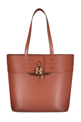 Front view image of Aby Tote Sepia Brown