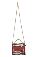 Front view with strap image of Chloé Abylock Bag Sepia Brown