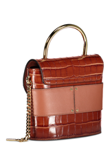 Back angled view image of Chloé Abylock Bag Chestnut Brown