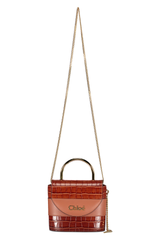 Front view with strap detail image of Chloé Abylock Bag Chestnut Brown