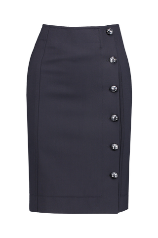 Front view image of Chloé Button Skirt Abyss Blue