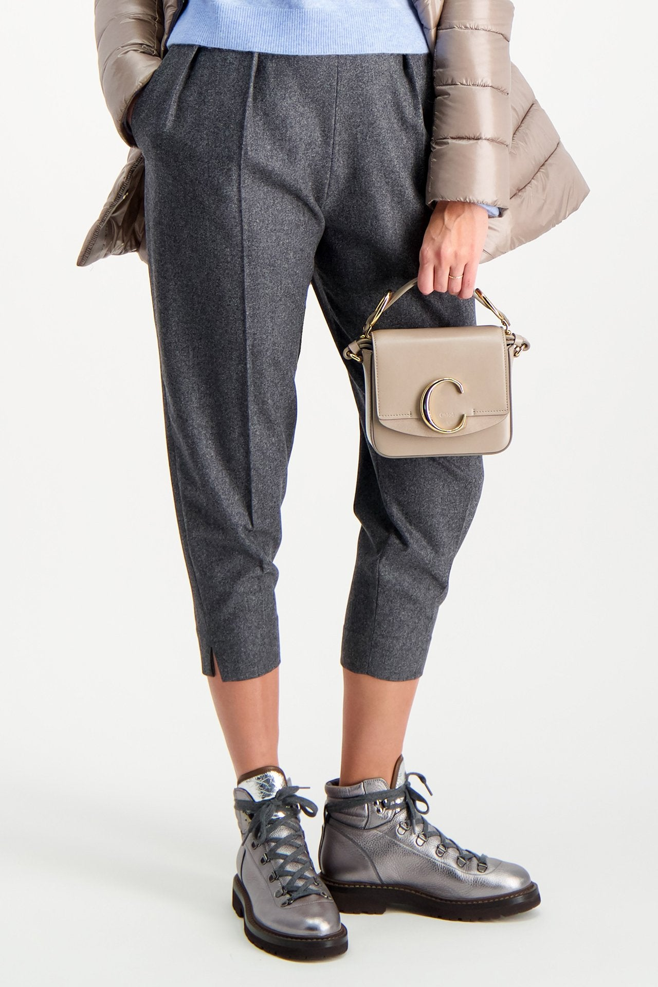 Model Image of Chloé C Mini Bag Motty Grey