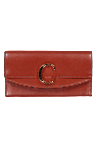 "Front image of Chloé ""C"" Wallet Sepia Brown"