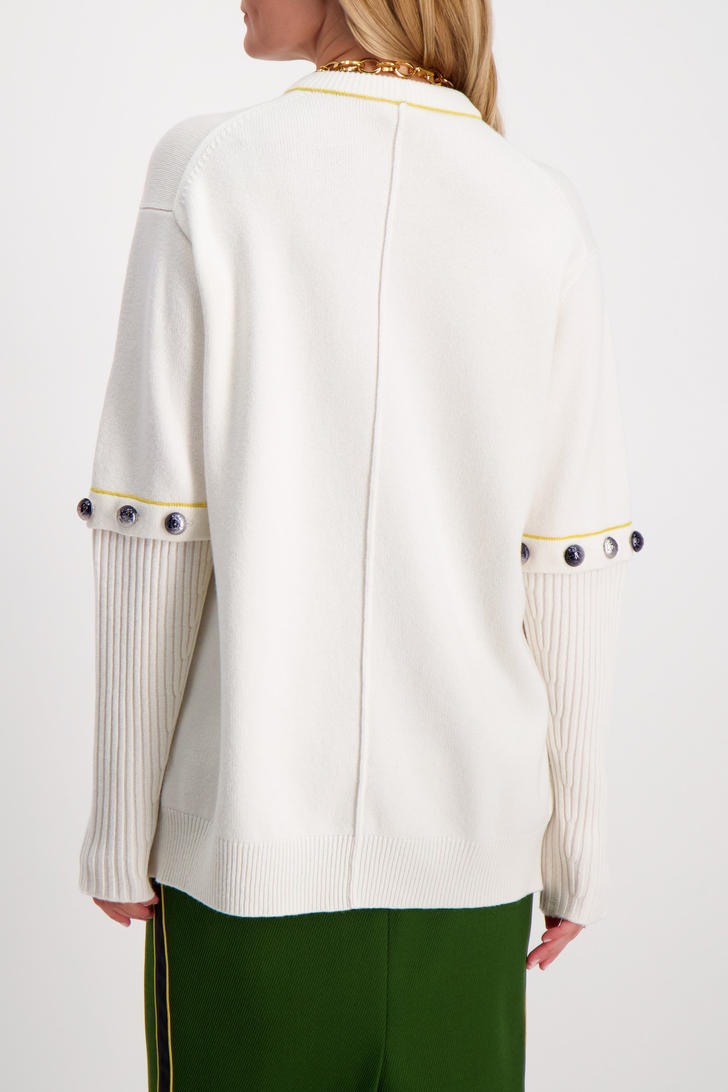 Back Crop Image Of Model Wearing Chloé Crewneck Button Sweater