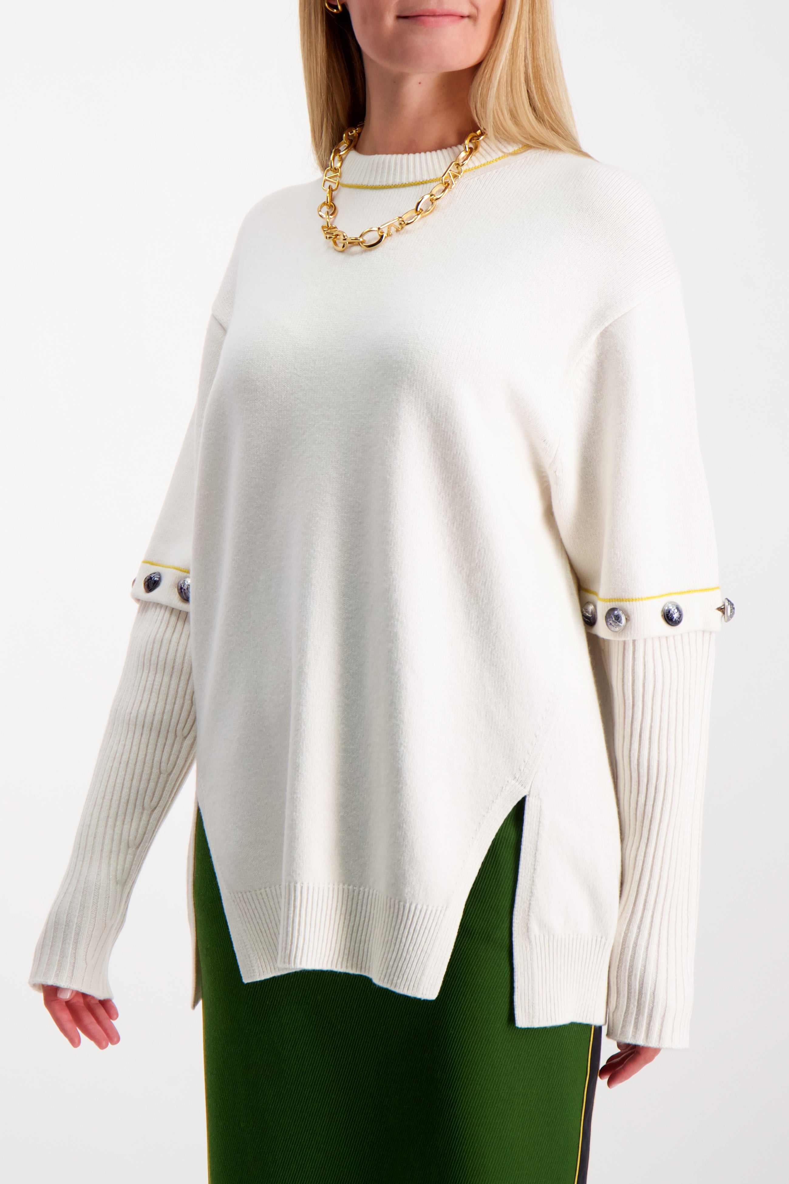 Front Crop Image Of Model Wearing Chloé Crewneck Button Sweater