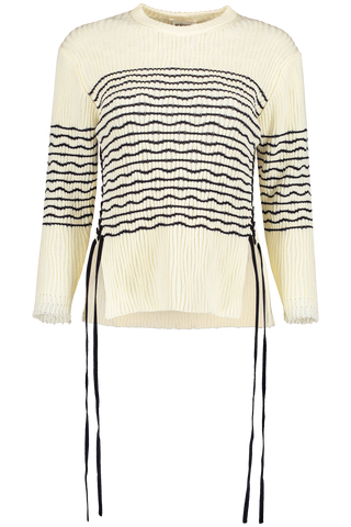 Crewneck Tie Stripe Sweater
