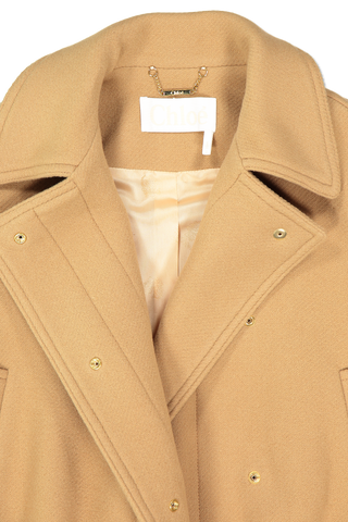 Collar Detail Cropped Iconic Wool Duffle Coat