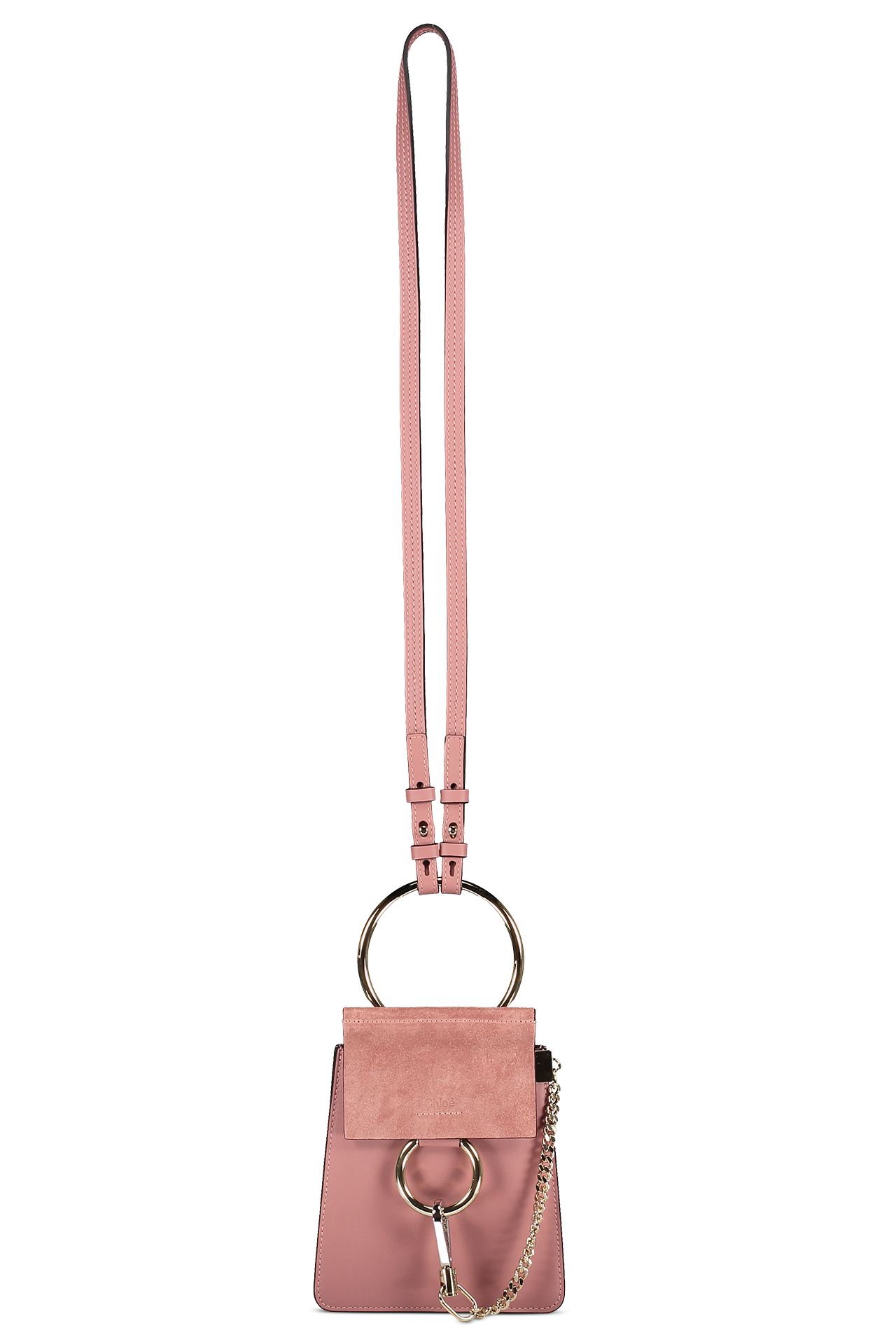 Image of Chloé Faye Bracelet Bag Rusty Pink  with strap