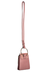 Back angled view image of Chloé Faye Bracelet Bag Rusty Pink with strap