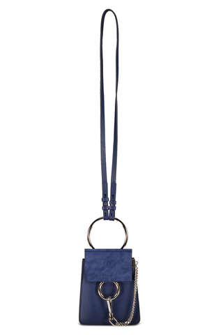 Front view with strap image of Chloé Faye Bracelet Bag Captive Blue