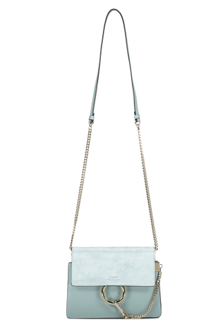 Front view with strap detail image of Faye Mini Shoulder Bag Faded Blue