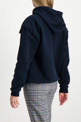 Back Crop image of Model Wearing Hooded Sweatshirt