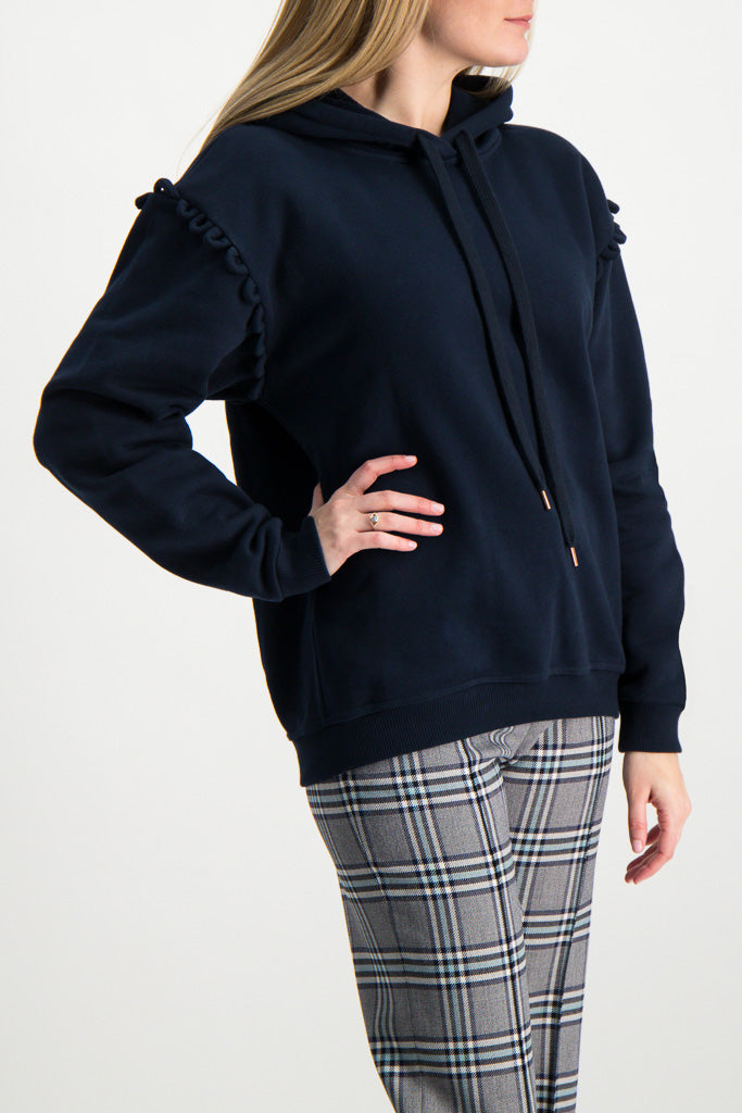 Front Crop image of Model Wearing Hooded Sweatshirt