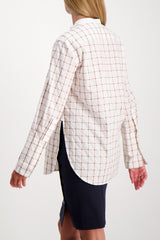 Back Crop Image Of Model Wearing Chloé Long Sleeve Band Collar Check Blouse