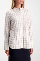 Front Crop Image Of Model Wearing Chloé Long Sleeve Band Collar Check Blouse