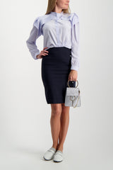 Full Body Image Of Model Wearing Chloé Long Sleeve Ruffle Blouse Arctic Ice