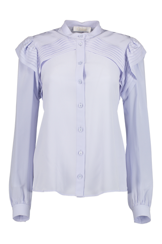 Front view image of Chloé Long Sleeve Ruffle Blouse Arctic Ice