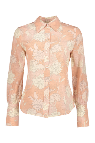Front view image of Chloé Women's Long Sleeve Floral Blouse Cloudy Rose