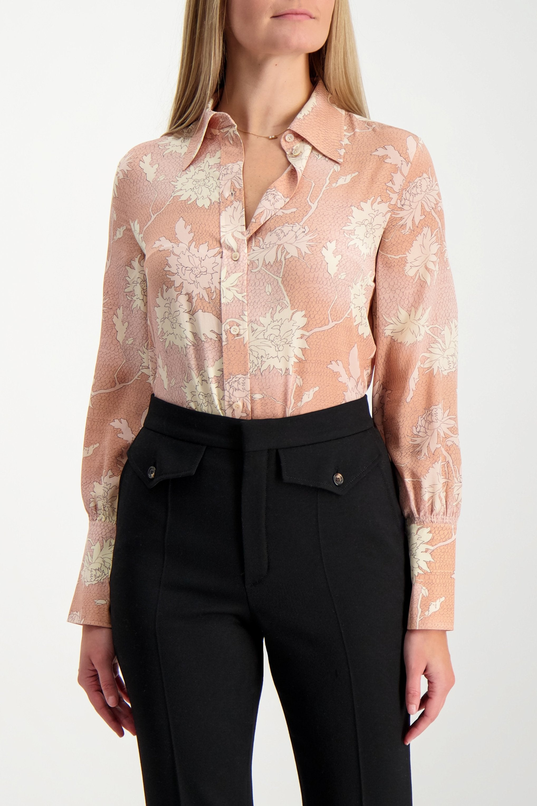 Front Crop Image Of Model Wearing Chloé Women's Long Sleeve Floral Blouse Cloudy Rose