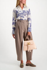 Full Body Image Of Model Wearing Chloé Long Sleeve Printed Blouse