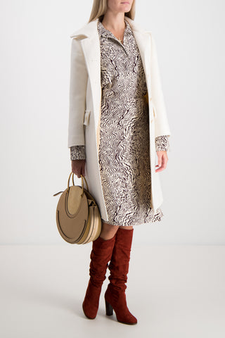 Long Sleeve Printed Dress In Beige Brown
