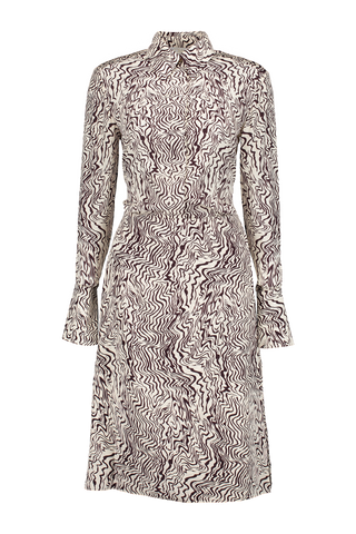 LS PRINTED DRESS BEIGE BROWN