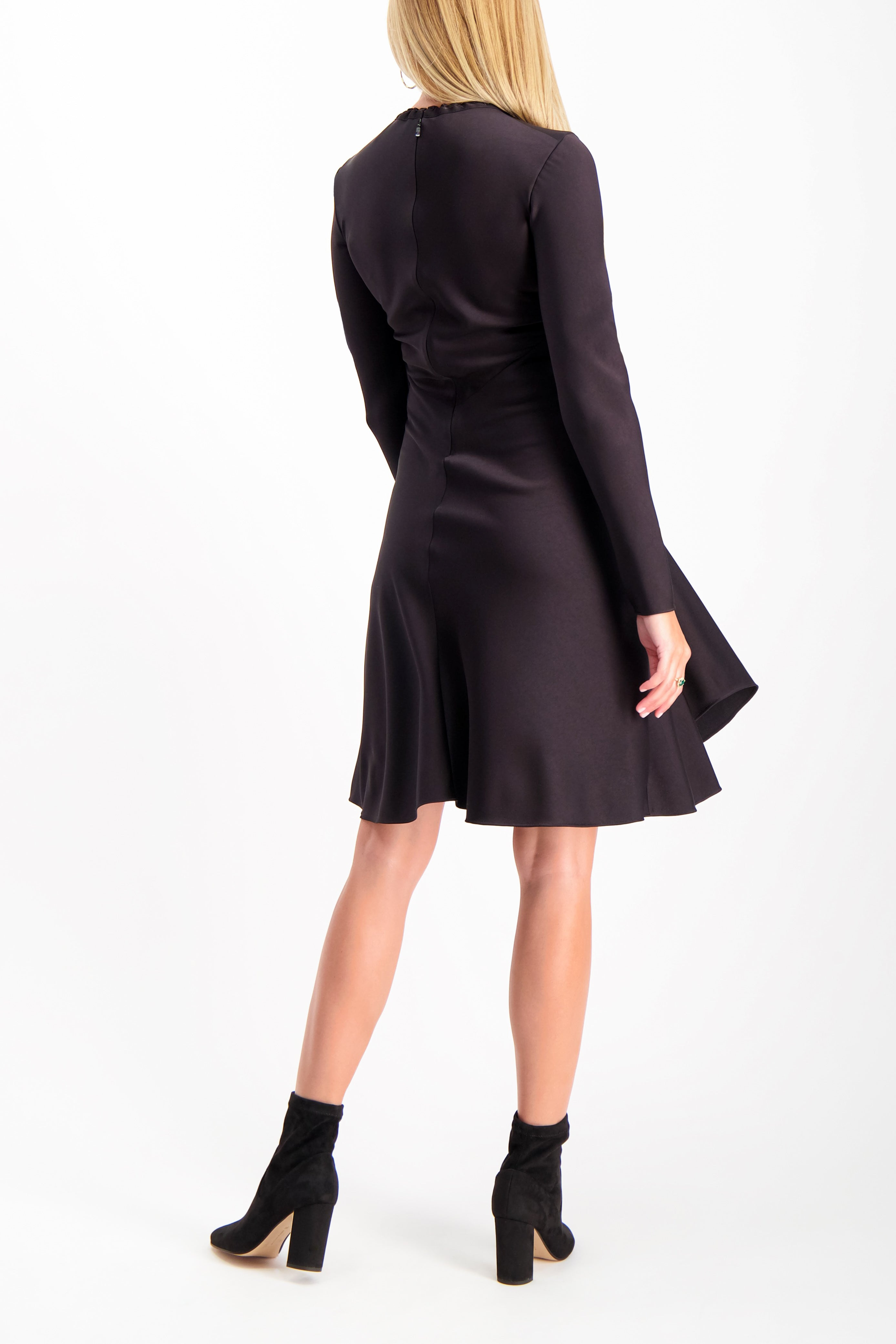Back Crop Image Of Model Wearing Chloé Long Sleeve Ruched Dress