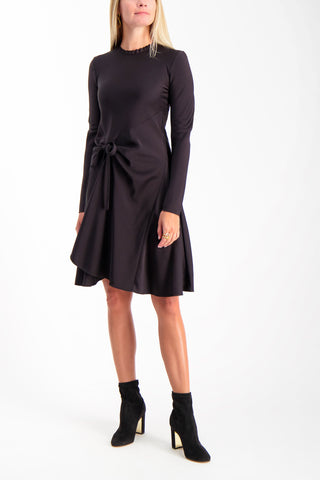 Full Body Image Of Model Wearing Chloé Long Sleeve Ruched Dress