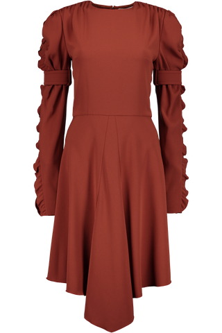Long Sleeve Ruffle Sleeve Dress In Wildwood Brown