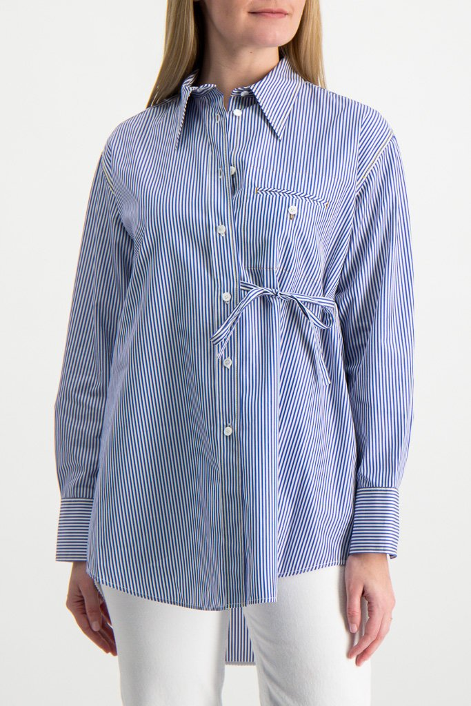 Front Image Of Model Wearing Long Sleeve Stripe Blouse
