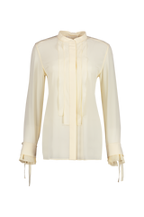 Front view image of Long Sleeve Tie Sleeve Blouse