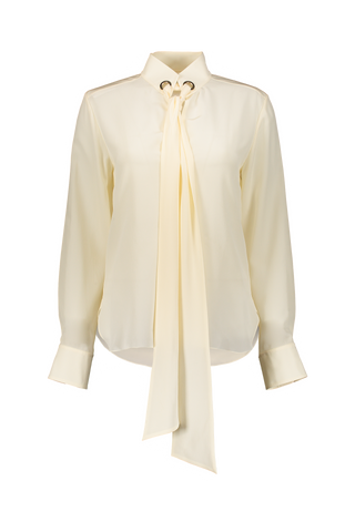 Long Sleeve Tie Blouse In Buttercream